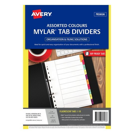 Avery Mylar Tab Dividers A4 1 10 White Fluoro Tabs