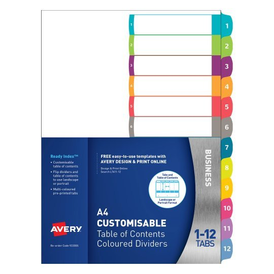 Avery L7411 12 Ready Index A4 1 12 Index White Asstd Tabs