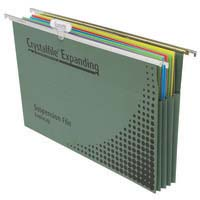 Crystalfile Suspension Files Foolscap Expanding Green Complete 90mm Gussetted Pk10