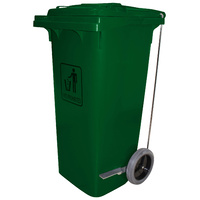 Cleanlink Trolley Bin Heavy Duty - With Foot Pedal 240 Litre Green