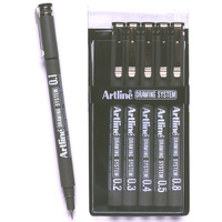 Artline Tech Drawing Pens 0.1/0.3/0.4/0.5/0.8 Wlt6 Black