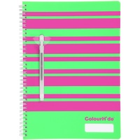 Colourhide Notebooks A4 Designer120 Page Green Stripe