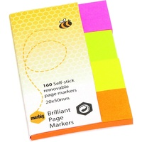Marbig Brilliant Page Markers 20X50mm 160 Sheet Assorted