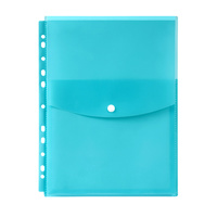Marbig Binder Pocket With Top Button Closure Marine Blue