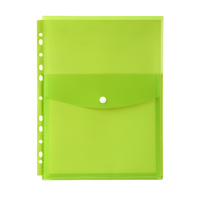 Marbig Binder Pocket with Top Button Closure Lime