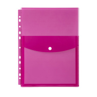 Marbig Binder Pocket with Top Button Closure Pink