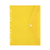 Marbig Binder Pocket With Side Button Closure Yellow