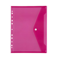 Marbig Binder Pocket with Side Button Closure Pink