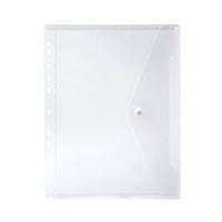 Marbig Binder Pocket With Side Button Closure Clear