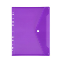 Marbig Binder Pocket With Side Button Closure Purple