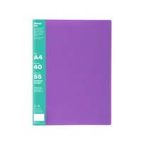 Colourhide Display Book A4 40 Pocket Purple