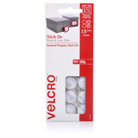 Velcro Mini Dots Hook & Loop Stick On 16mm 15 Sets White