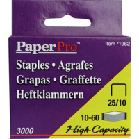 Paperpro Heavy Duty Staples 25/10 Bx3000 10-60 Sheets