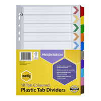 Marbig Coloured Dividers A4 10 Reinforced Plastic Tab