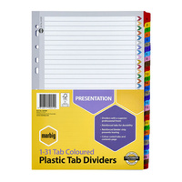 Marbig Coloured Dividers A4 1-31 Reinforced Plastic Tab