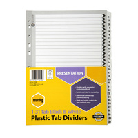 Marbig Black & White Dividers A4 1-31 Reinforced Tab Board
