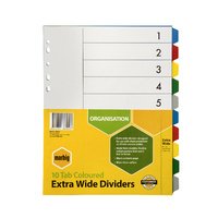 Marbig Bright Manilla Dividers A4 10 Reinforced Tab PP Extra Wide Assorted