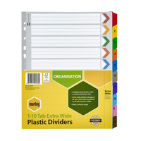Marbig Bright Manilla Dividers A4 1-10 Reinforced Tab PP Extra Wide Assorted