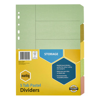 Marbig Manilla Dividers A4 5 Tab Pastel Multi Coloured