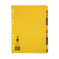 Marbig Bright Manilla Dividers A4 1-12 Multi Coloured