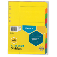 Marbig Bright Manilla Dividers A4 10 Tab Multi Coloured
