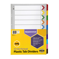 Marbig Coloured Dividers A3 1-10 Tab Reinforced Board Portrait