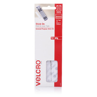 Velcro Stick On Hook & Loop Strips 20mm X 150mm White