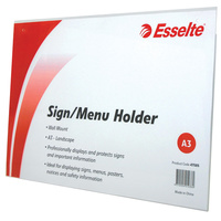 Esselte Sign Menu Holder A3 Landscape Wall Mount