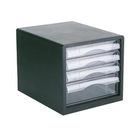 Esselte Filing Drawers - 4 Clear Drawers Black Shell