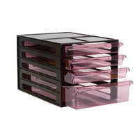 Esselte Filing Drawers - 4 Clear Drawers Red Shell