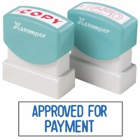 X-Stamper Self Inking Stamp 1025 Approved For Payment Blue