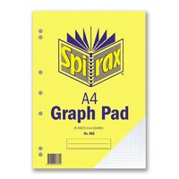 Spirax A4 805 Graph Pad 5mm Grid 25 Leaf 297X210mm