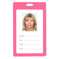 Rexel ID Coloured Plastic Card Holder Portrait Pk6 Pink
