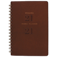 At-A-Glance Signature Collection Wiro Bound Weekly/Monthly Planner A5 Brown  2021 Edition