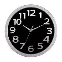 Carven Wall Clock Round 330mm Black/Silver