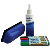 Artline Whiteboard Starter Kit Inc 4X Markers Cleaner Eraser