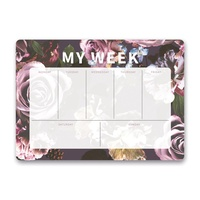 Orange Circle Weekly Desk Pad Floral Expressions