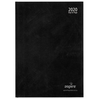 Aspire Commercial Diary A5 1 Day a Page Black Cover 2020 Edition