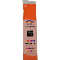 Rainbow Crepe Paper 500mmx2.5m Orange
