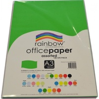 Rainbow 80gsm Office Paper A3 10 Colour Assorted