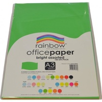 Rainbow 80gsm Office Paper A3 5 Brights Assorted