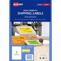 Avery Laser Id Label L7168FY Fl Yellow Label 2Up 199.6X143.5mm 25/Pk