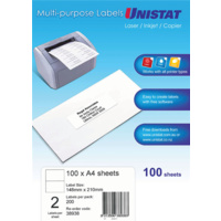 Unistat Laser Inkjet Labels Copier 2 Sheet 148X210mm