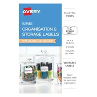Avery Organisation & Storage Labels White With Blue Details Durable Rectangle Removable 10Up 44.4X25.4mm 50Pk