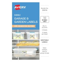 Avery Garage & Outdoor Labels White With Green Border Durable Rectangle Removable 2Up 95.2X63.5mm 10Pk
