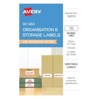 Avery Organisation & Storage Labels White With Green Details Rectangle Removable Dry Erase 4Up 88.9X31.7mm 16Pk