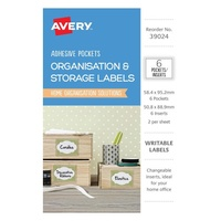 Avery Organisation & Storage Labels Clear Adhesive Pockets With White Inserts 50.8X88.9mm 6Pk