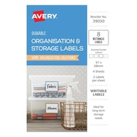 Avery Organisation & Storage Labels Assorted Rectangular Durable Removable 91X68mm 2Up 8Pk