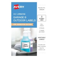 Avery Garage & Outdoor Labels Self Laminating Rectangle Durable Rectangle 2Up 95X70mm 8Pk