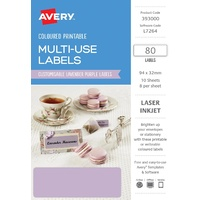 Avery Home Labels L7264 Lavender Label 8Up 32X94mm A5 10/Pk